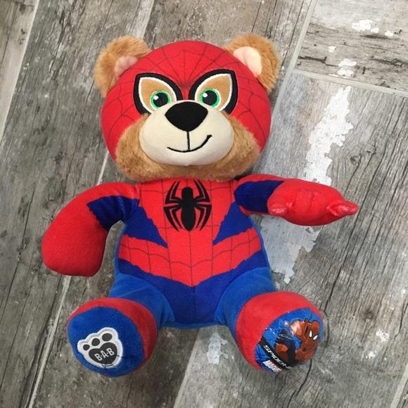Build A Bear Spiderman Marvel Super Hero Stuffed Animal Teddy Plush Doll Spidey